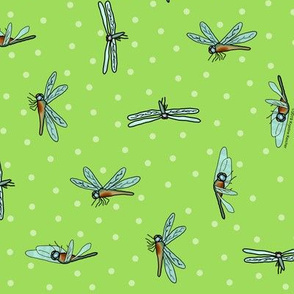 Dragonflies and Dots Ditsy Apple Green