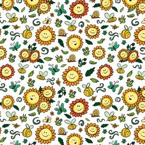 White sunflowers bees caterpillars butterfly pattern