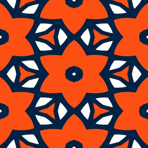 The Navy and the Orange: Star Flower Jungle - LARGE