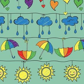 Rainy Day Rainbows on Teal
