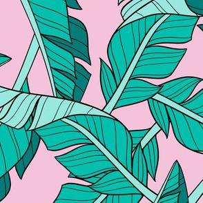 banana leaves - pink, large