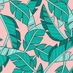 banana leaves - blush, small
