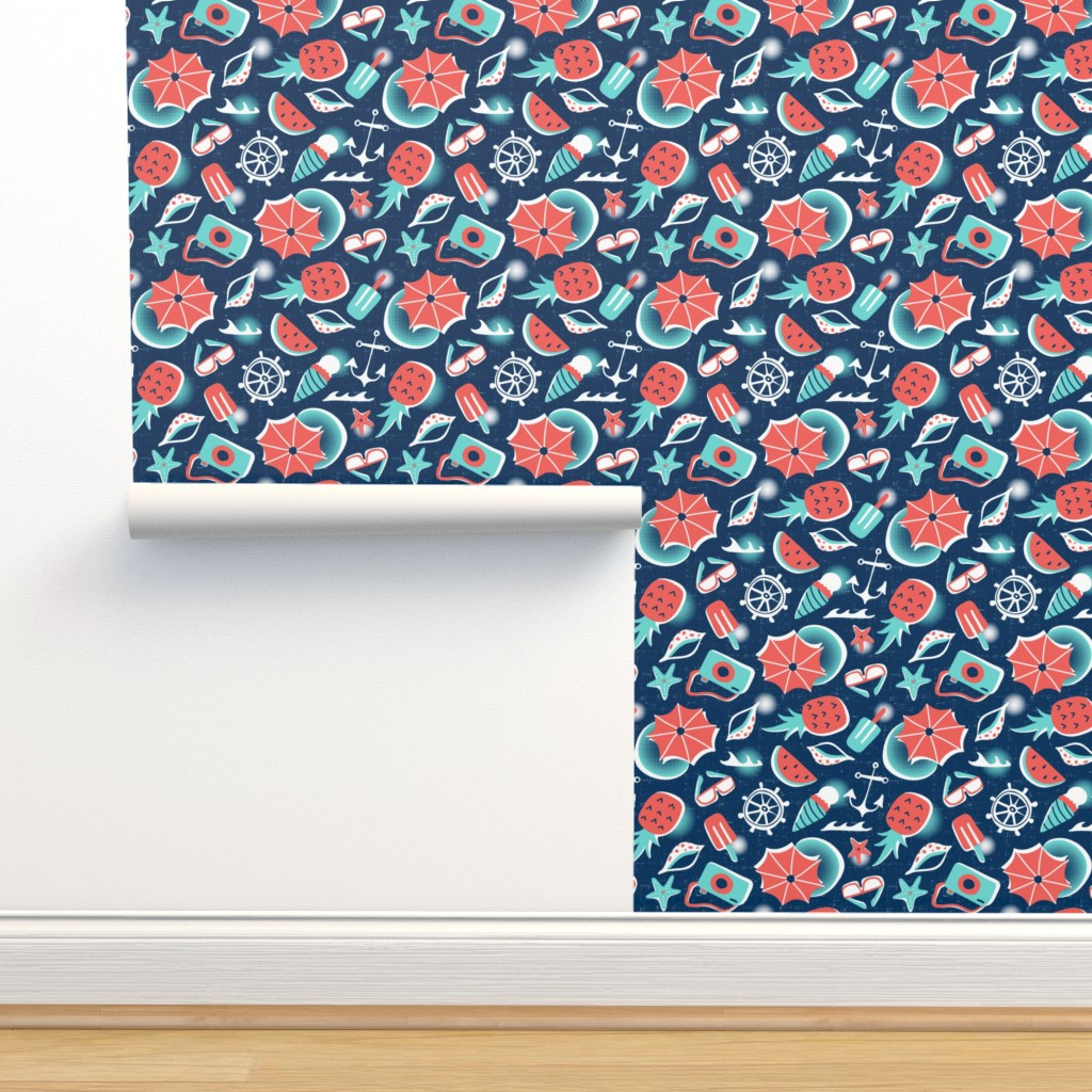Isobar Durable Wallpaper featuring Summer Vacation - Small Scale Navy by heatherdutton
