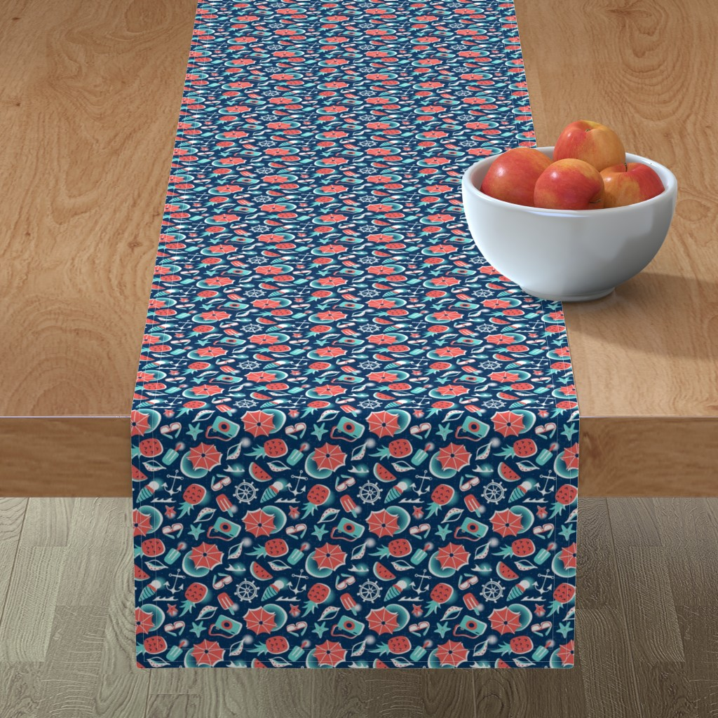 Minorca Table Runner featuring Summer Vacation - Small Scale Navy by heatherdutton