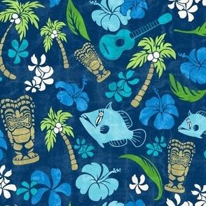 Hawaiian Tiki Beach Tropical Micro Print - Navy and Turquoise colorway