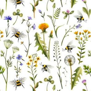 Bees And Wildflowers / White / Small Scale