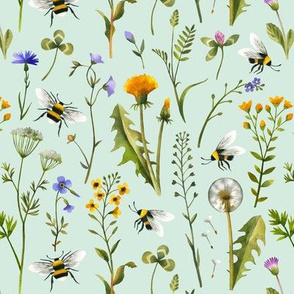 Bees And Wildflowers / Mint / Small Scale