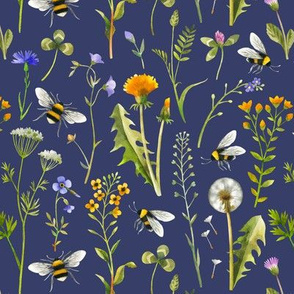 Bees And Wildflowers / Dark Blue / Small Scale