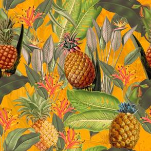 Pierre-Joseph Redouté-Fruit Cocktail - Vintage Tropical Palm Jungle,  flower Pineapple fabric, Palm fabric,vintage hawaiian fabric on sunny yellow
