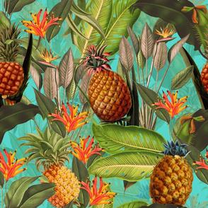 Pierre-Joseph Redouté-Fruit Cocktail - Vintage Tropical Palm Jungle,  Pineapple fabric, Palm fabric,vintage hawaiian fabric on teal