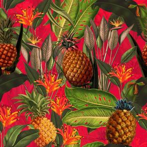 Pierre-Joseph Redouté-Fruit Cocktail - Vintage Tropical Palm Jungle, flower Pineapple fabric, Palm fabric,vintage hawaiian fabric on fiery red