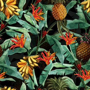 Pierre-Joseph Redouté-Fruit Cocktail,Antique Tropical Palm Jungle with Banana and Pineapple,black