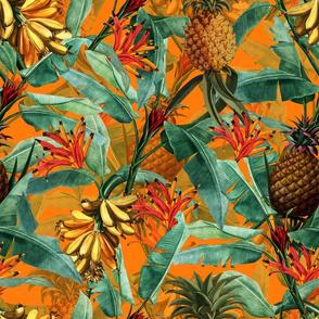 Pierre-Joseph Redouté Fruit Cocktail,Vintage Tropical Palm Banana Pineapple Jungle, yellow