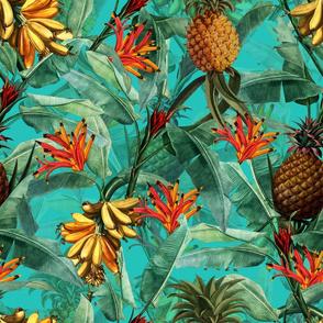 Pierre-Joseph Redouté Fruit Cocktail - Vintage Tropical Palm Jungle, Banana Pineapple fabric, Palm fabric,vintage hawaiian fabric on teal