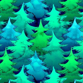 Blue and Green Watercolor Pines