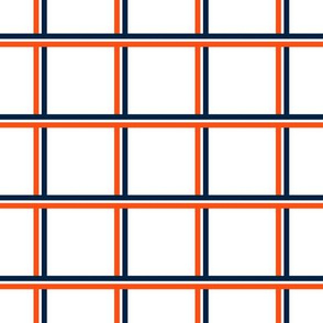 The Navy and the Orange: Tri-Color Stripe Plaid- SMALL