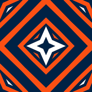 The Orange and the Navy: Four Point Star in a Box with White