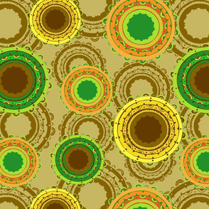 Seamless retro vector pattern with yellow disc like circles on beige background.. Abstract vintage wallpaper design with brown and green.