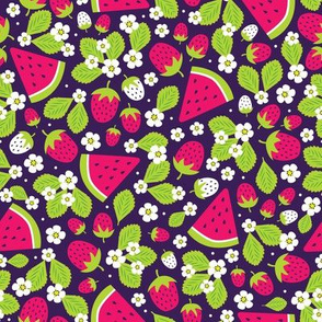 Summer Strawberries and Melons (Purple & Green)