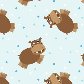 Galloping Hippo in Brown and Blue