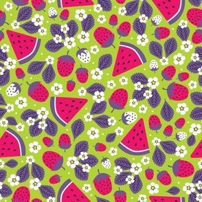 Summer Strawberries and Melons (Green & Purple