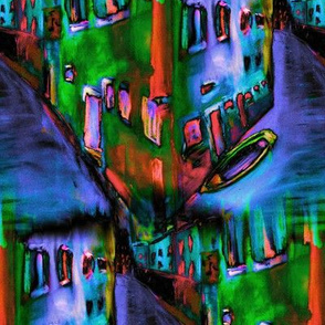 VENICE WATER REFLECTIONS PERIWINKLE BLUE GREEN TURQUOISE PURPLE