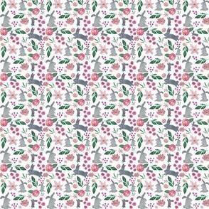pink floral bunny tiny print