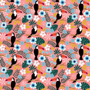Toucan Floral Jungle coral (small)