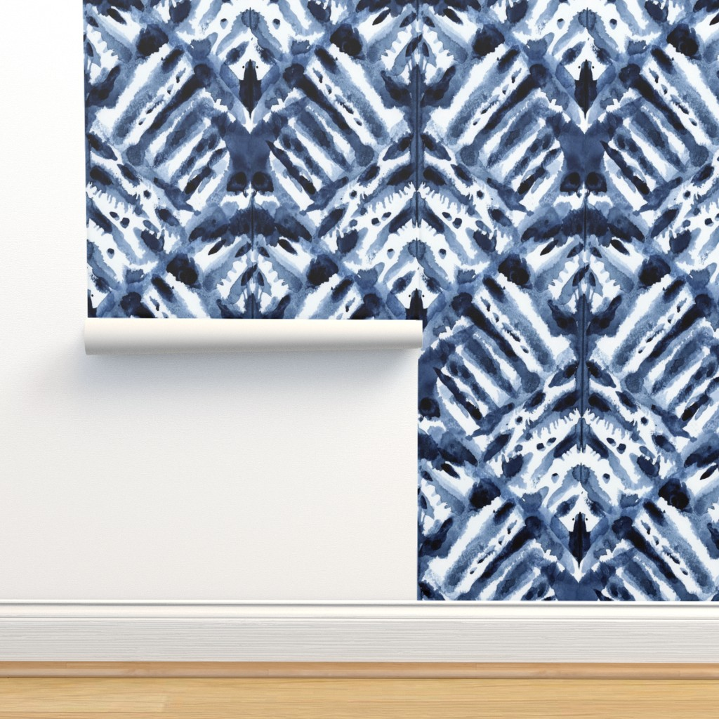 Isobar Durable Wallpaper featuring Watercolor Shibori by kristinnohe
