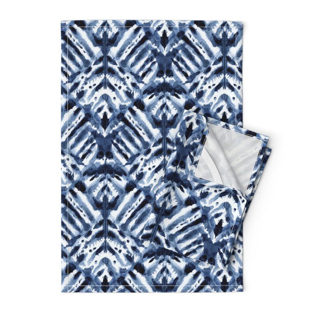 Orpington Tea Towels featuring Watercolor Shibori by kristinnohe