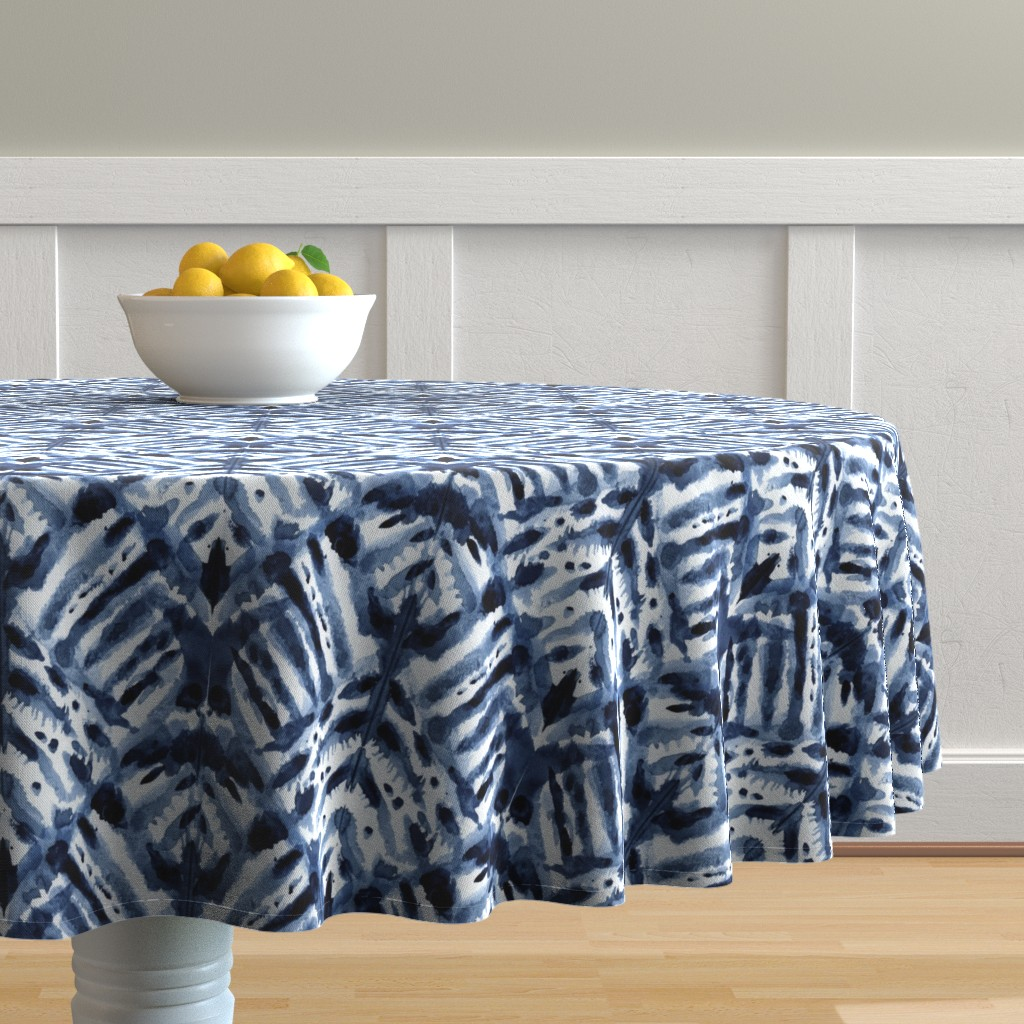Malay Round Tablecloth featuring Watercolor Shibori by kristinnohe