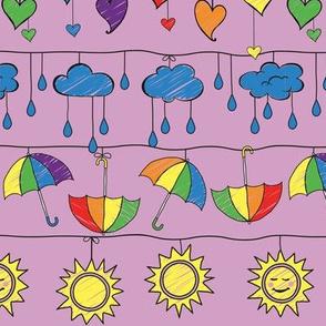 Rainy Day Rainbows on Mauve