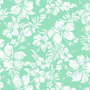 Distressed Hawaiian Hibiscus Floral- Mint Green