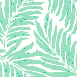Giant Illustrated Palm Leaves - Mint Green