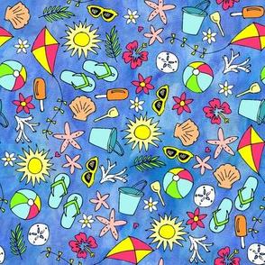 Small Scale Beach Watercolor Blue