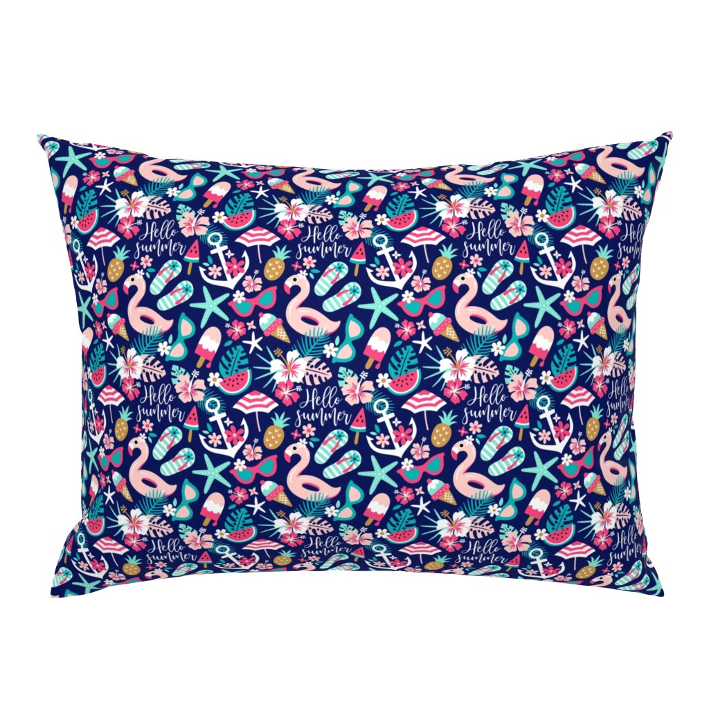 Campine Pillow Sham featuring beach girl - small by mirabelle_print