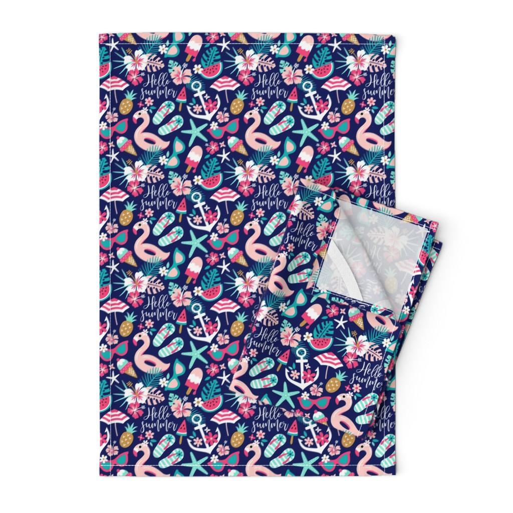 Orpington Tea Towels featuring beach girl - small by mirabelleprint