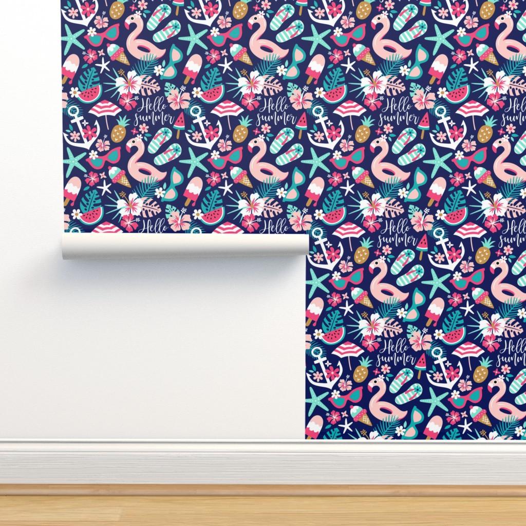 Isobar Durable Wallpaper featuring beach girl - small by mirabelleprint