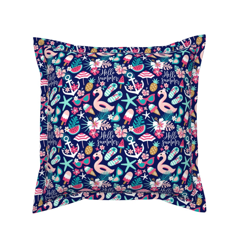 Serama Throw Pillow featuring beach girl - small by mirabelle_print