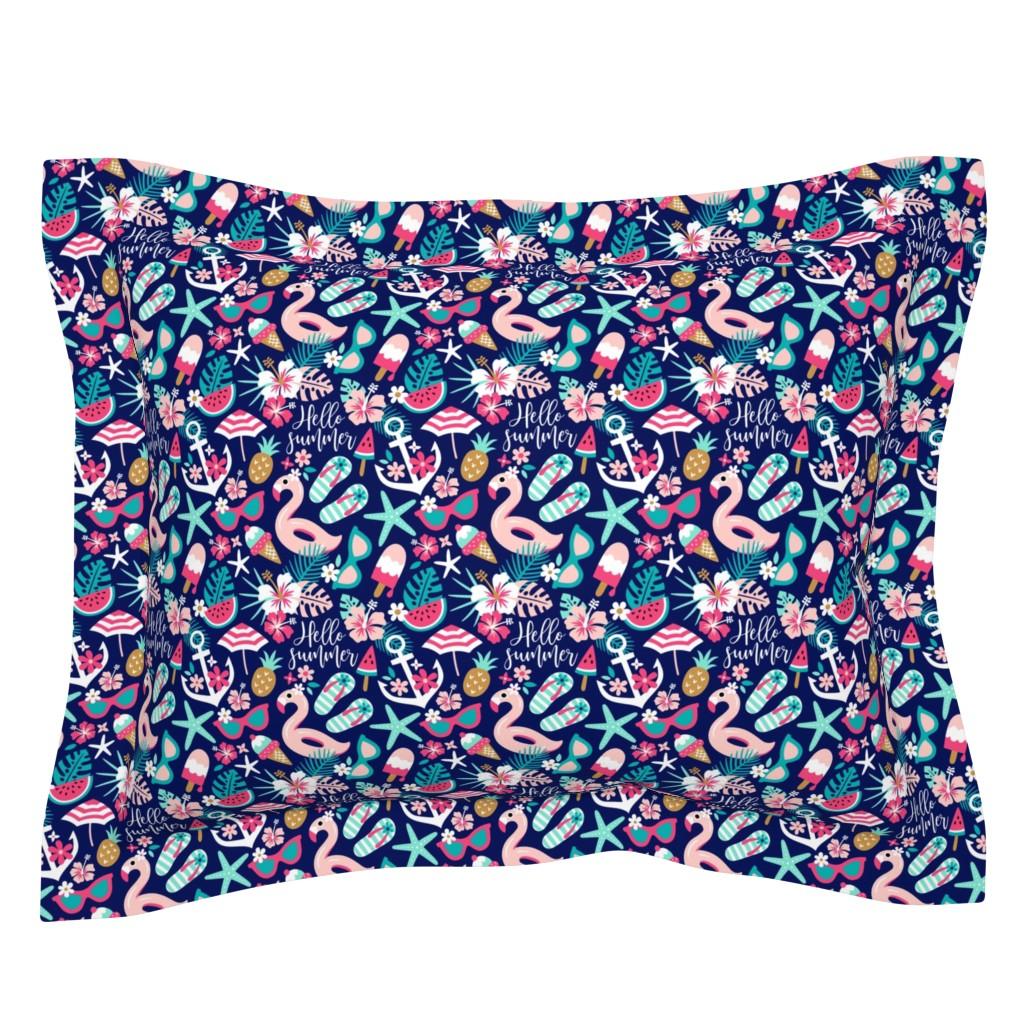 Sebright Pillow Sham featuring beach girl - small by mirabelleprint