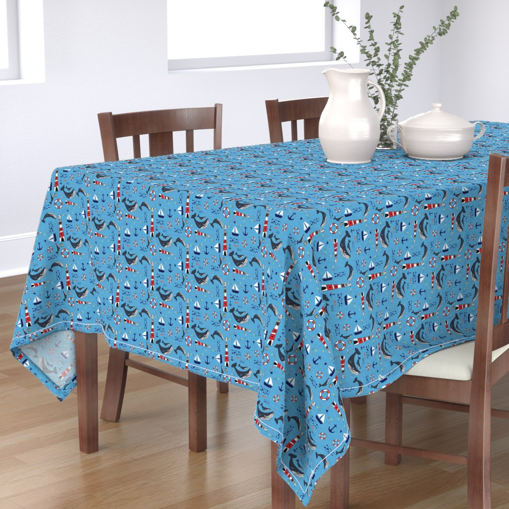 Bantam Rectangular Tablecloth featuring Ocean Whale Blue by bruxamagica