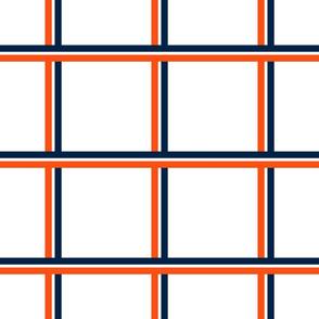 The Navy and the Orange: Tri-Color Stripe Plaid - MEDIUM