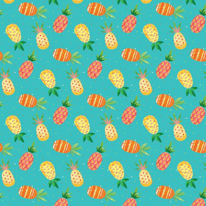 painterly pineapple ditsy