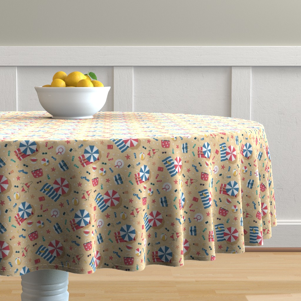 Malay Round Tablecloth featuring Summer Beach Aerial View by nadyabasos