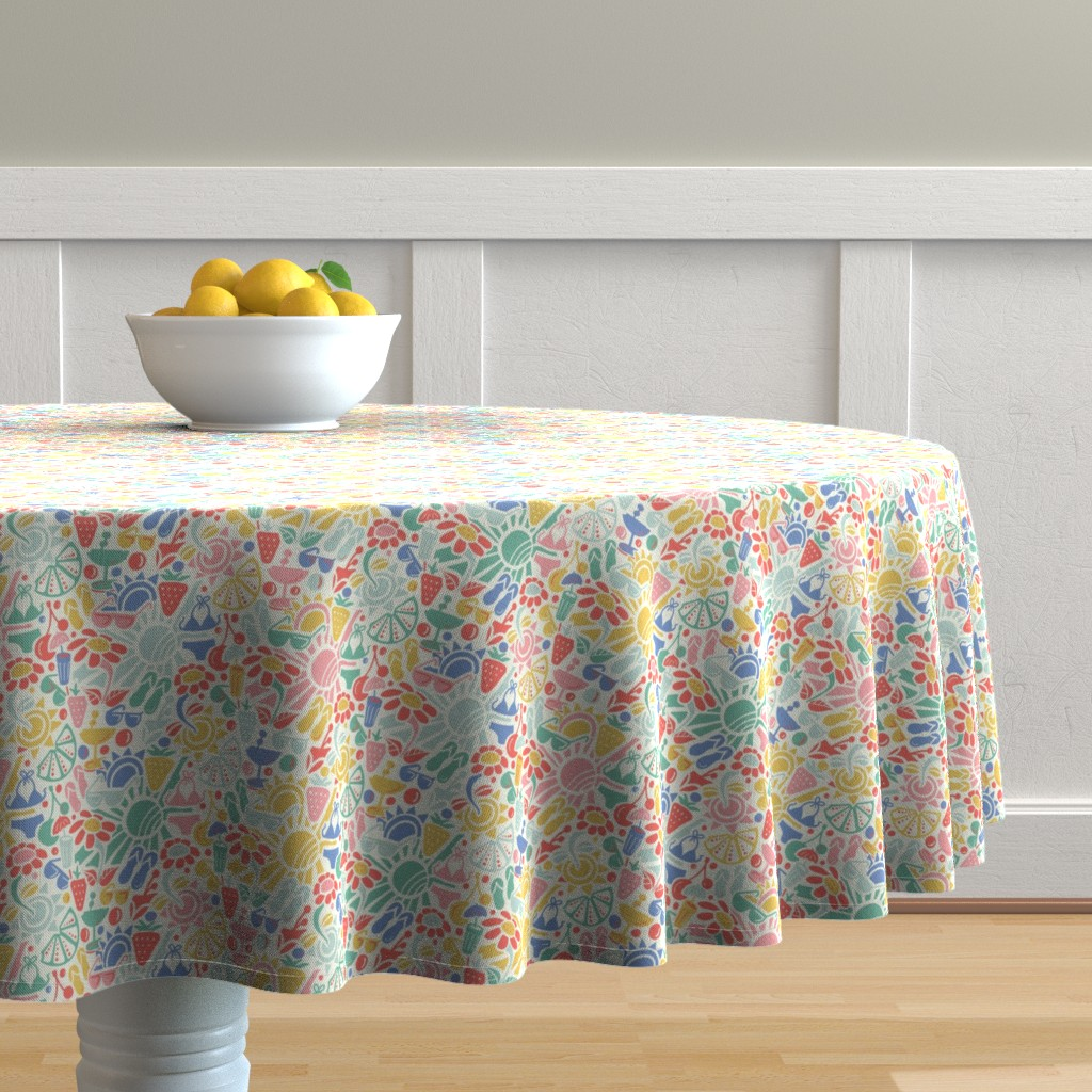 Malay Round Tablecloth featuring summer fun time by gemmacosgroveball