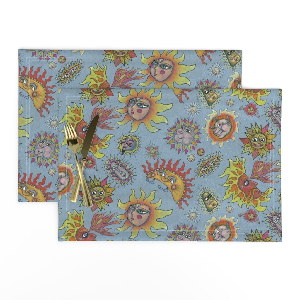 Lamona Cloth Placemats featuring different fantasy sun faces, large scale, blue gray grey yellow orange red by amy_g