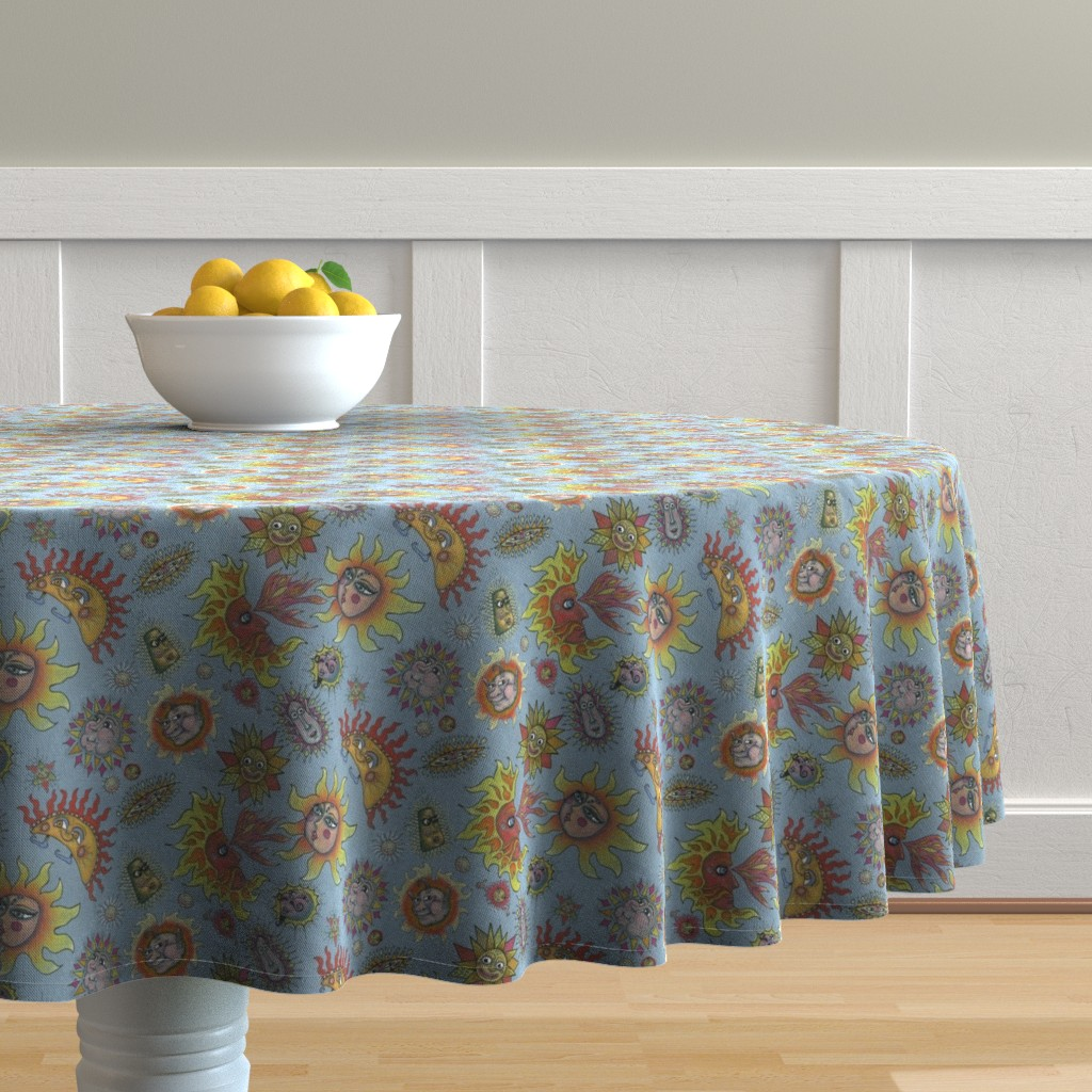 Malay Round Tablecloth featuring different fantasy sun faces, small scale, blue gray grey yellow orange red by amy_g