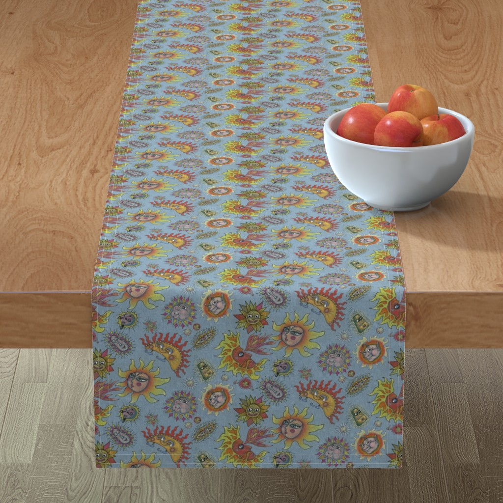 Minorca Table Runner featuring different fantasy sun faces, small scale, blue gray grey yellow orange red by amy_g