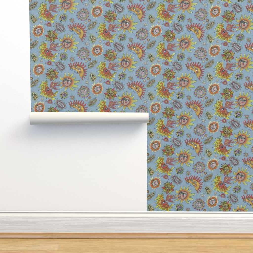 Isobar Durable Wallpaper featuring different fantasy sun faces, small scale, blue gray grey yellow orange red by amy_g
