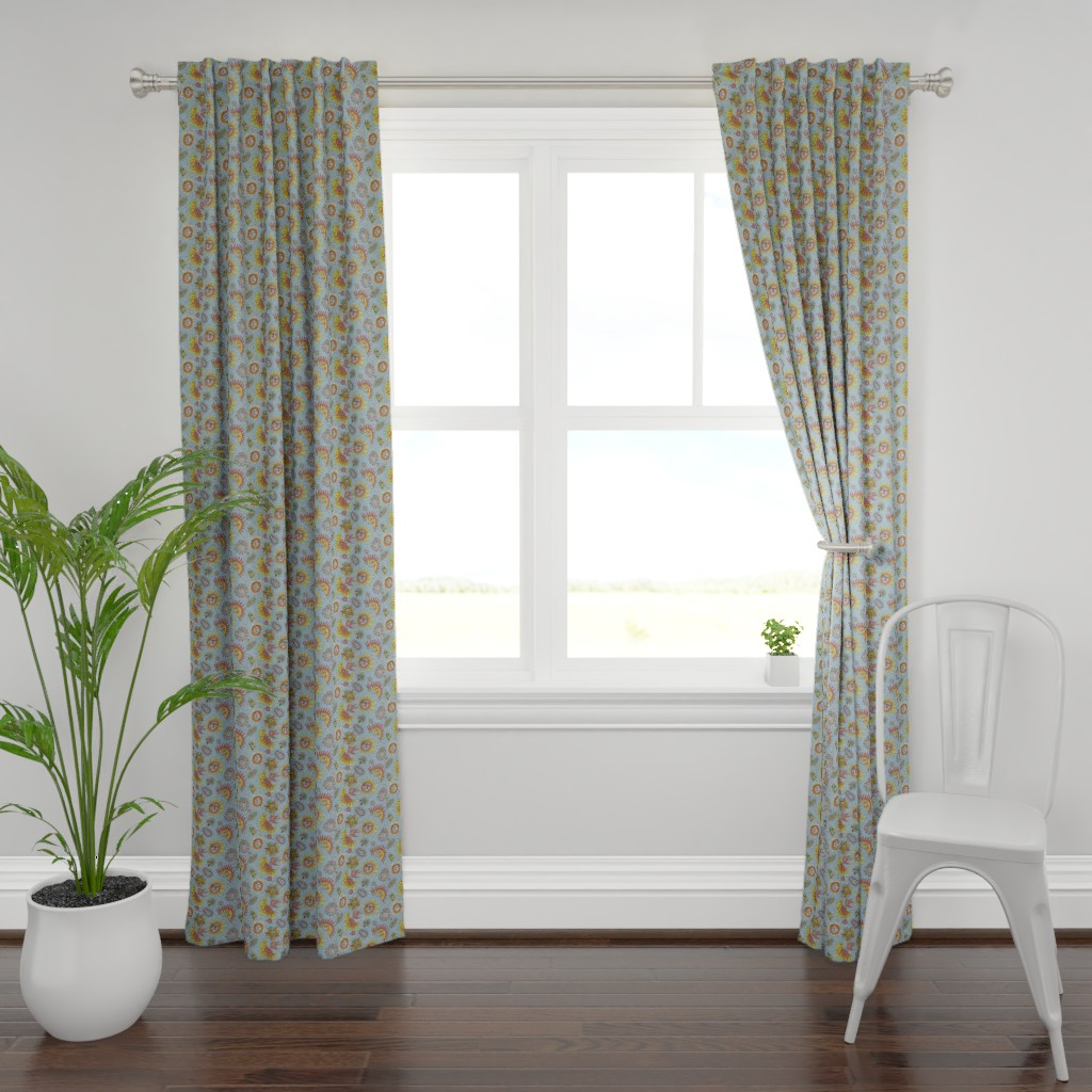 Plymouth Curtain Panel featuring different fantasy sun faces, small scale, blue gray grey yellow orange red by amy_g